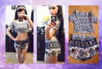 Slash Neck Crop Top and Ethnic Shorts Suit Reviews - Blue S