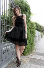 Dentelle Spliced Cami robe noire Reviews