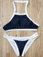 Hit Color Halterneck Bikini Set Reviews