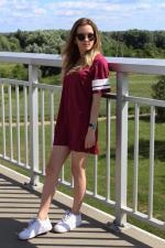 Stripe Jewel Neck Short Sleeve Dress Reviews