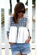 High-Low Printed Collarless Long Sleeve Blouse Reviews