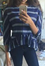 Striped Flounce Ruffles col rond Chemisier à manches longues Reviews - Purplish Blue S