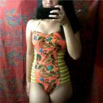 Totem Print High Cut One Piece Swimwear Reviews