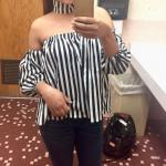 Off The Shoulder Lantern Sleeve Striped Loose Blouse Reviews
