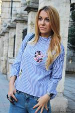 Striped Stand Neck Embroidered Blouse Reviews