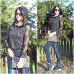 Front Pocket Lace Insert Hoodie Reviews