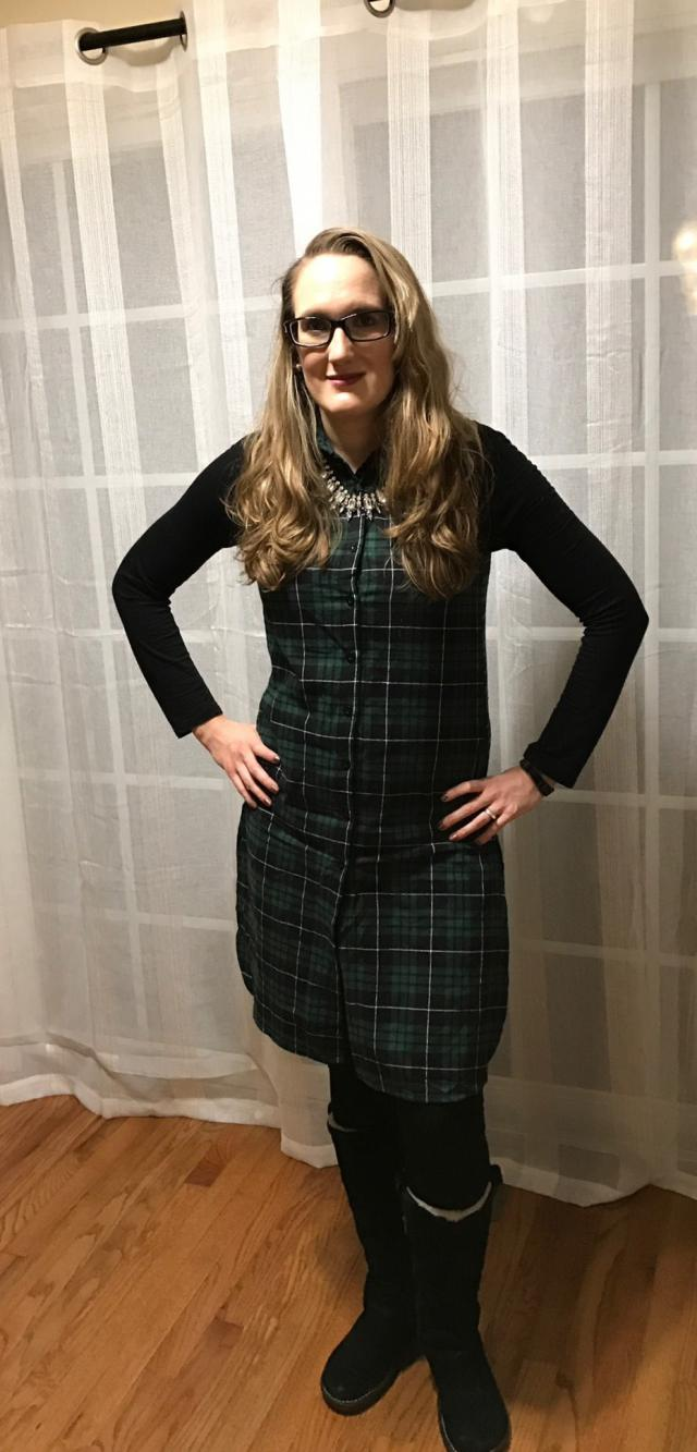 I can\'t wait to style this Plaid Shirt Neck Sleeveless Maxi Top different ways.