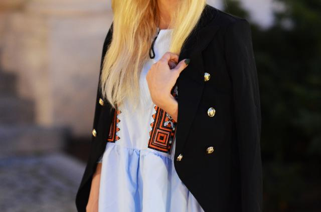Balmain\'s style blazer and emboidered dress from Zaful <3