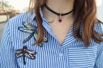 High Low Striped Dragonfly Embroidered Shirt Reviews