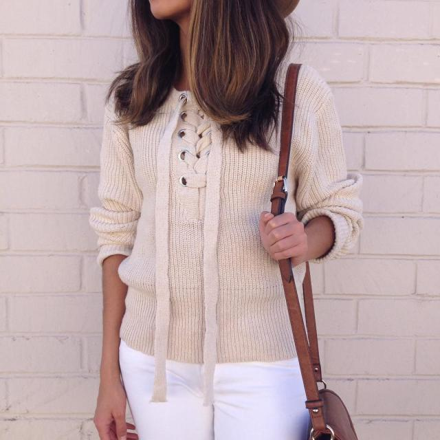 Loving this Lace Up Ribbed Jumper!