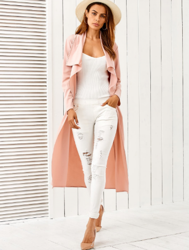 Belted Shawl Collar Trench Pink Coat looks fantastic !