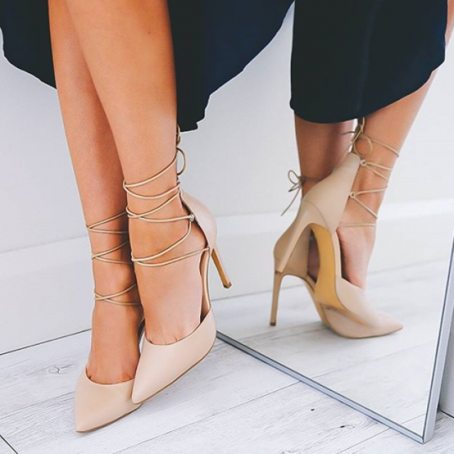 In nude heels your legs can appear longer :)