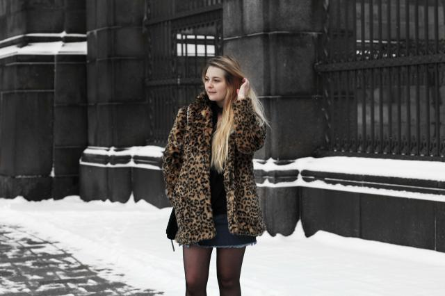 Love to style this faux leopard fur with denim and black!