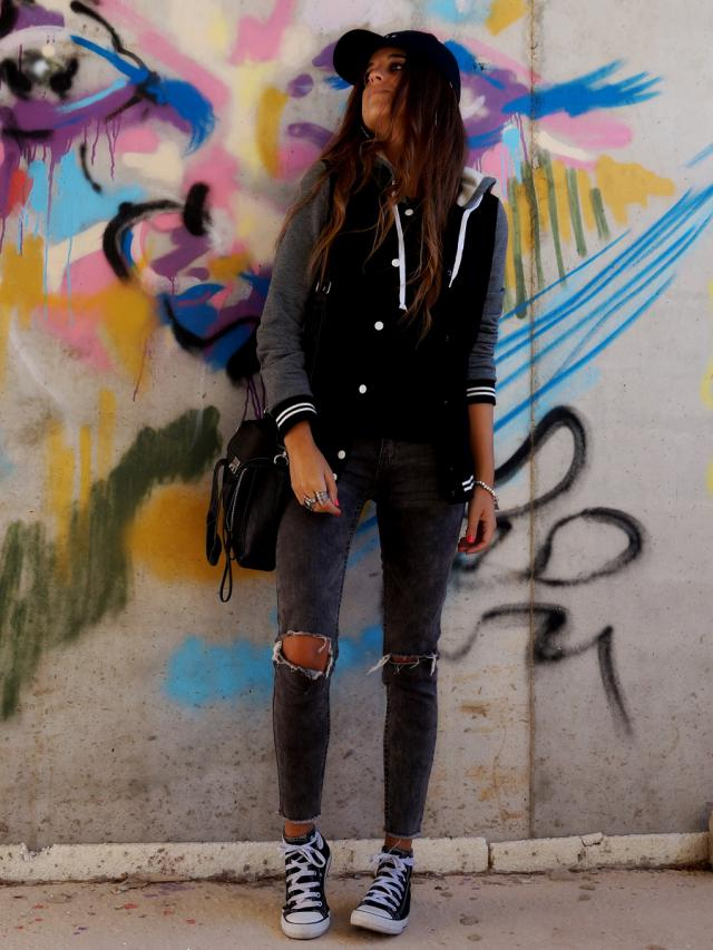 Baseball jackets are on fire! This black and grey is simply perfect for my sporty looks! #frontlowblog #style