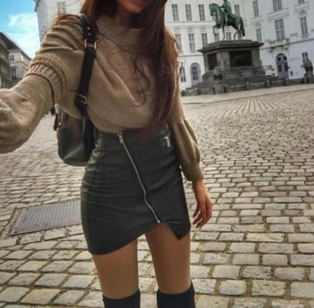 Leather skirt is perfect for layering!