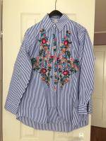Striped Floral Embroidered Shirt Reviews
