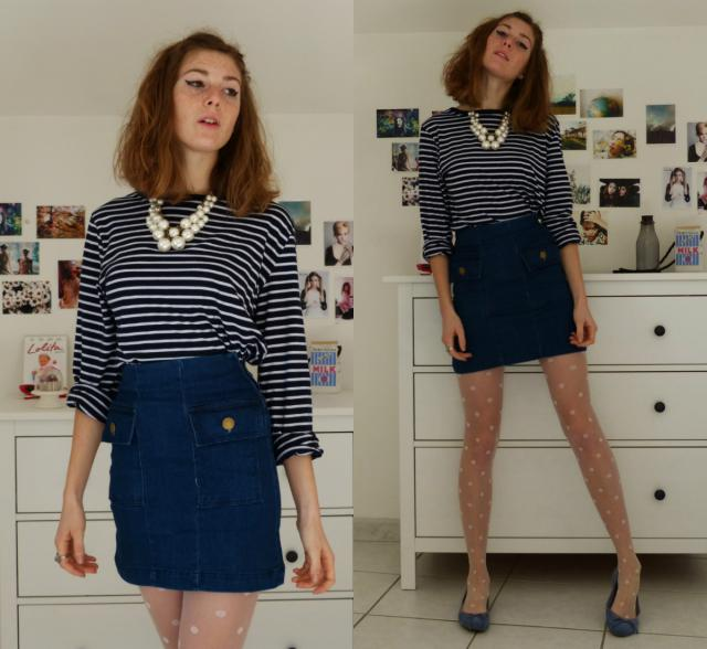 A retro nautical look with this denim skirt ♥