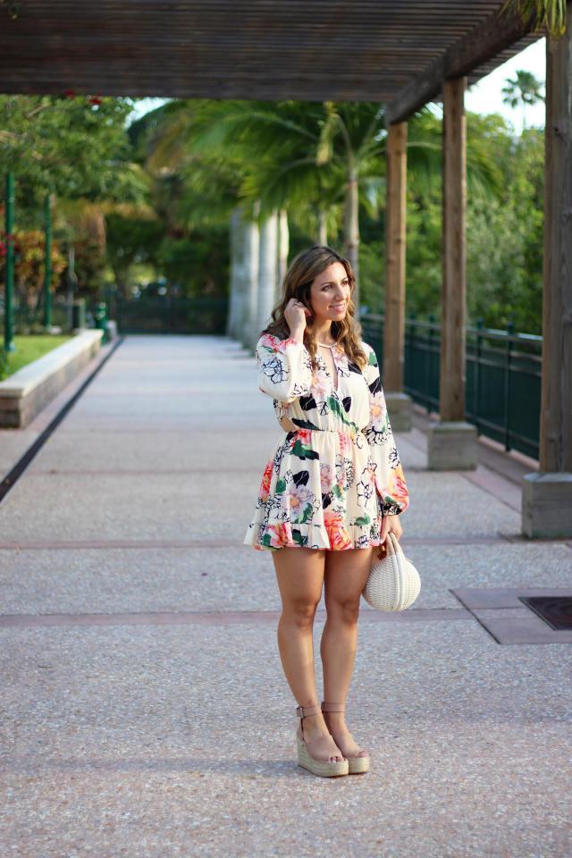 Via GlassofGlam.com in the Floral Print Waist Cutout Keyhole Dress and Round Basket Bag.