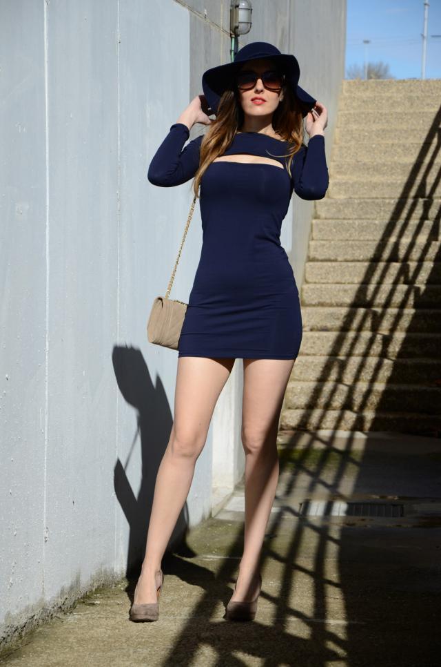 long sleeve cut out bodycon dress blue bodycon dresses m