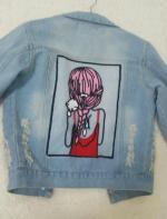 Lentejuelas embellecido cuello de la camisa apenada dril de algodón de la chaqueta Reviews