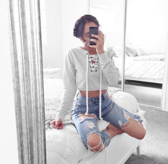 I love this lace up crop top sweater♥♥♥♥♥