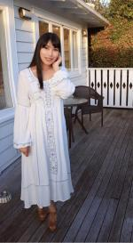 Embroidered Midi Dress With Sleeves Reviews - White M