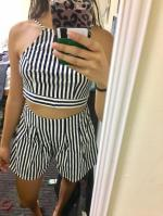 Backless Crop Top with Striped Shorts Reviews - Blue S