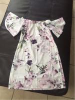 Fuera del hombro vestido de la vendimia de la flor Reviews - White S
