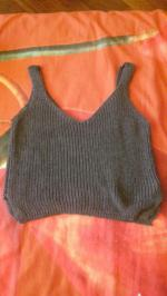 Ribbed Sleeveless Knitted Tank Top Reviews - Gray One Size(fit Size Xs To M)