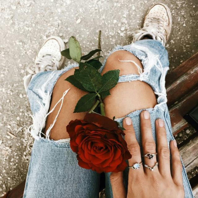 #denimlove ripped jeans and rose