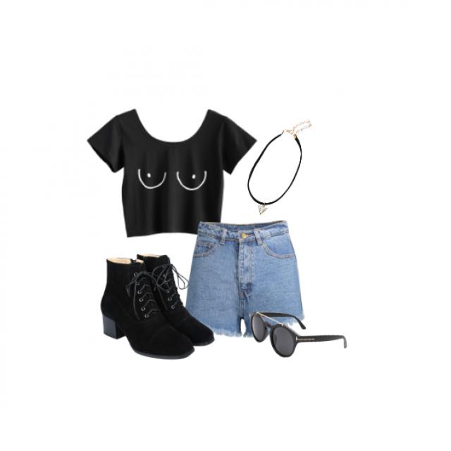 #springbreak2017 #grunge #90\'s #cute #schooloutfit #black #summer