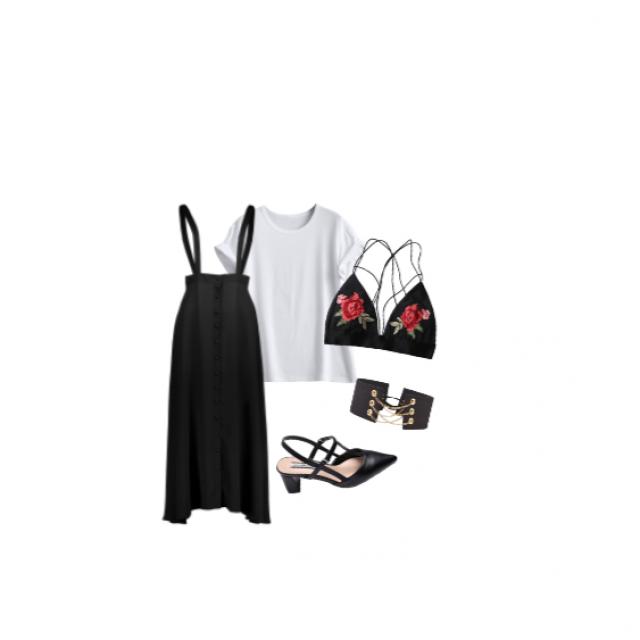 #classy #rose #casual #blackandwhite #cute #skirt #blalette #choker