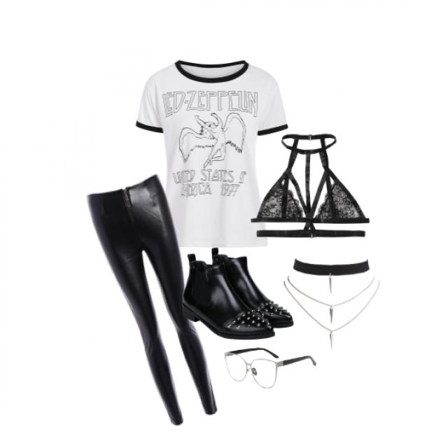 #denimlove #grunge #ledzeppelin #blackandwhite #outfit #school