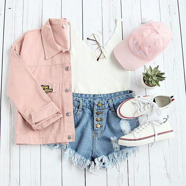 Girly comfy outfit for summer #dressforidol #flatlay #denimlove