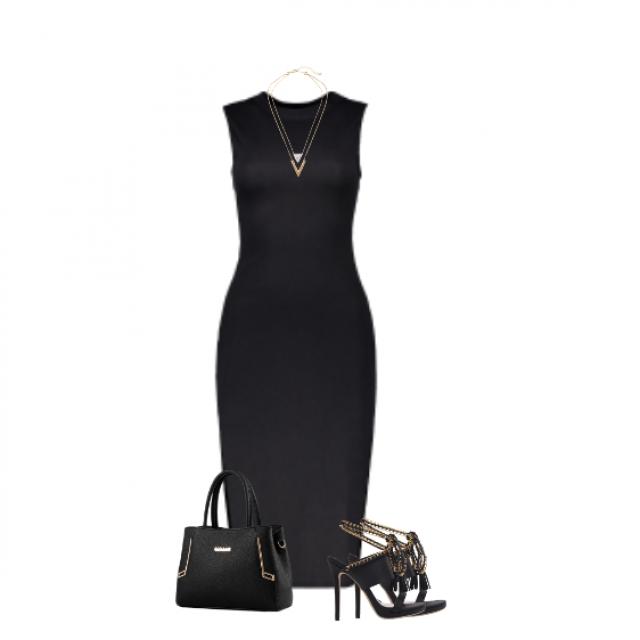 #chic#elegant#classy#bodycon#gold#black#sandals #getthelook