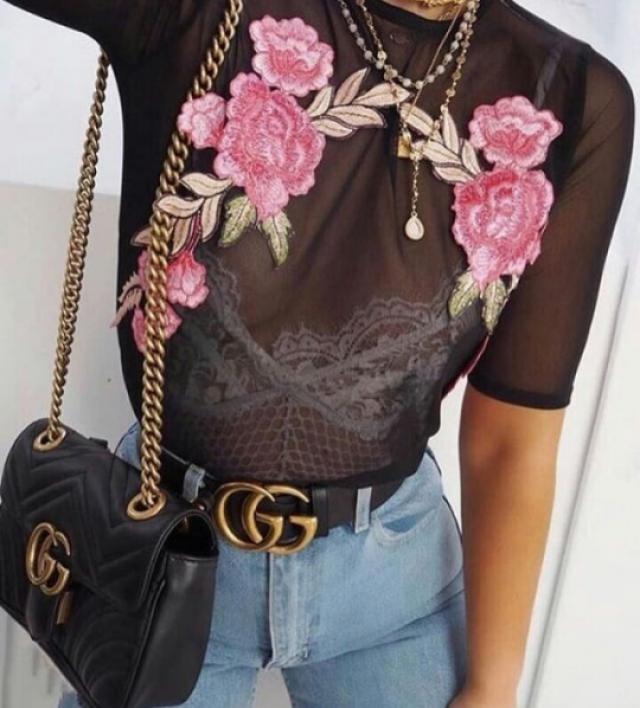 Black sheer blouses are a must have! #dressforidol #springbreak2017 #denimlove #gotolook #partydress #loveselfie