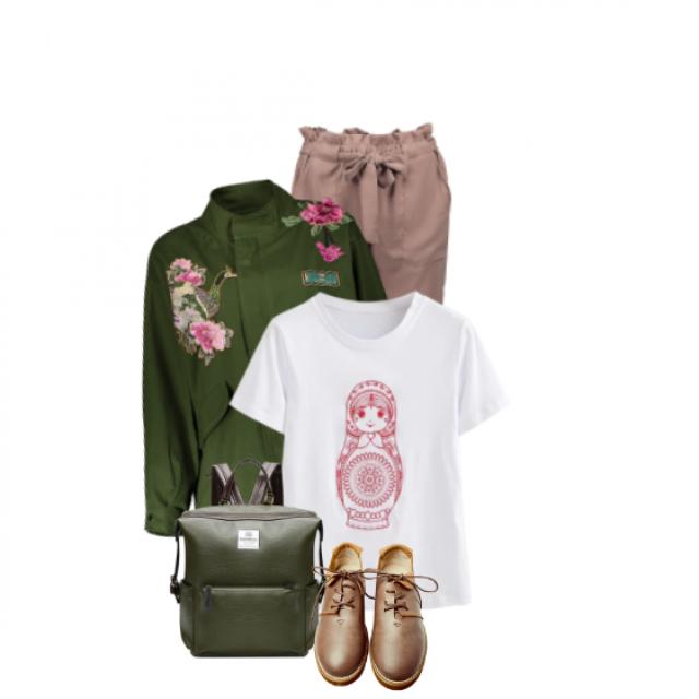 #spring2017#summer2017#summerlook#break#casual #white#green#printed#backpack