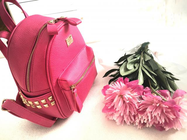 Pink vibes today with this cute bright pink backpack & fresh peonies More pics on my fashion blog:
