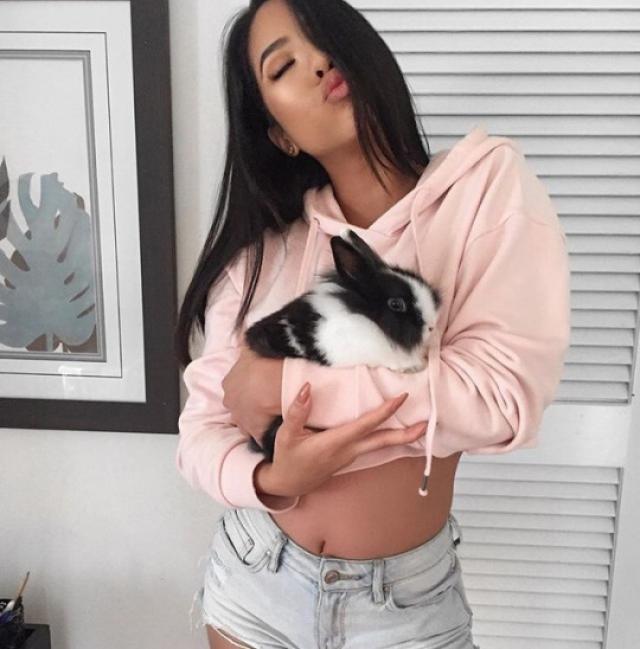 Pink hoodie is so cute!