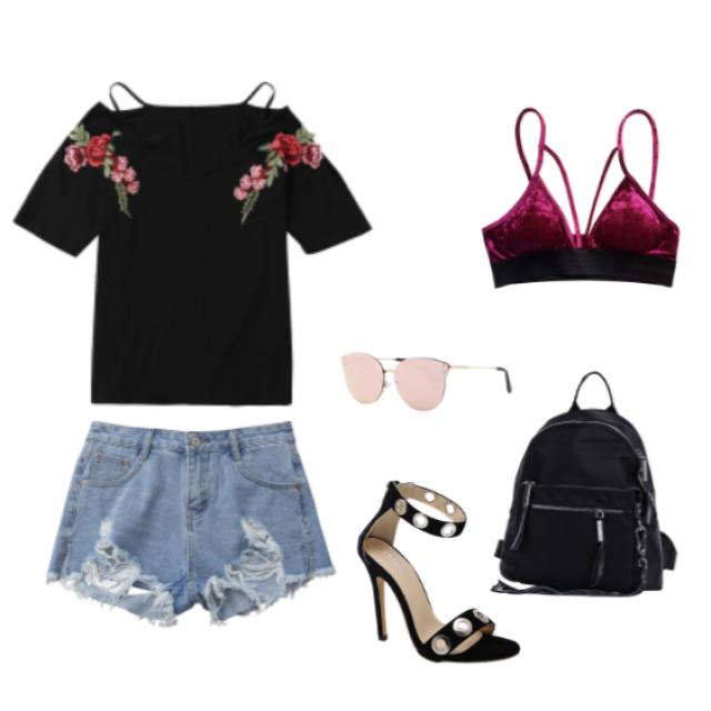 #springbreak2017 #streetwear #streetstyle #rose #V-neck #velvet