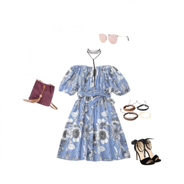 #Floralprint #summer #blue #HighHeels