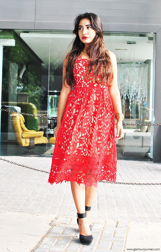 #lacedress#reddress#fashion