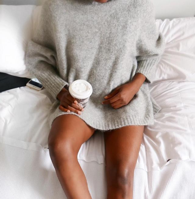 cozy sweater and coffee