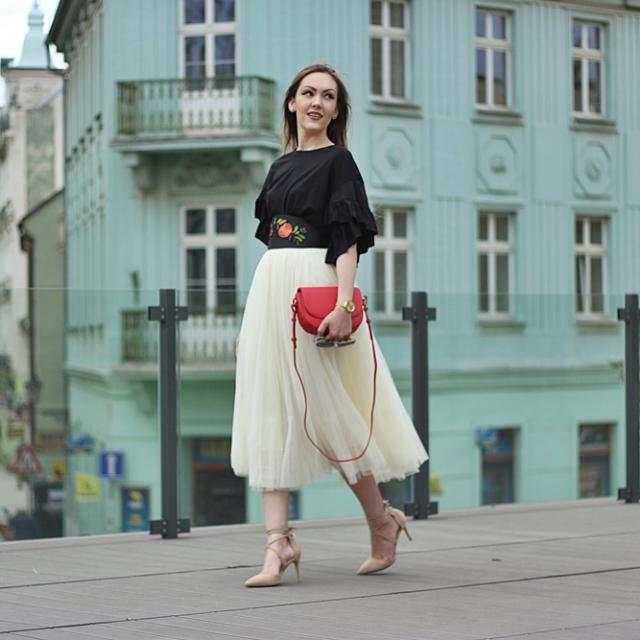 #fashionblogger #tulleskirt #ruflletop