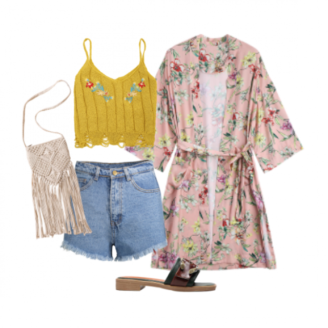 Need this outfit  #zaful #cutezaful #cute #mustard #crochet #floral #denim #sandals #highwaist #shorts