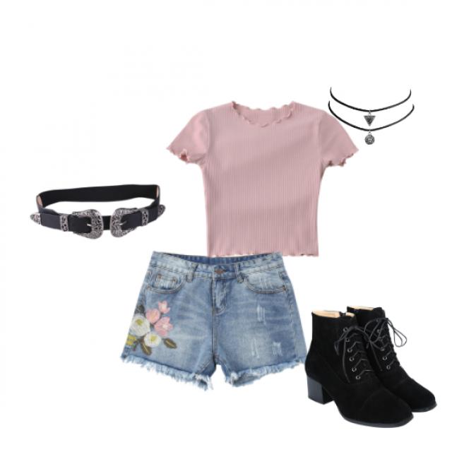 #pink #black #laceup #heels #doublebuckle # belt #choker #floralprint #denim #shorts #shirt #tshirt