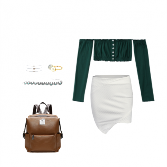 This off the shoulder dark green top looks amazing paired with a simple still sexy white skirt. Add a backpack to keep…