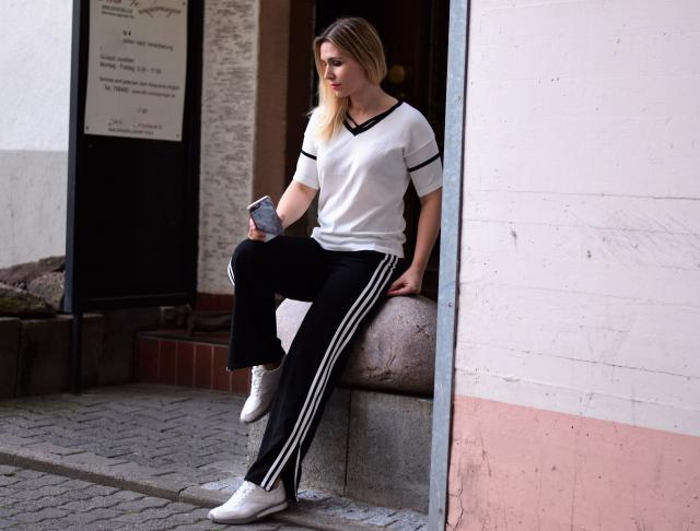 Find this look at www.leilad.com  #stripes #sporty #casual #black #white