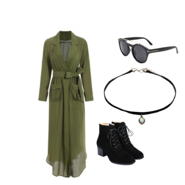 #shirtdress #lapelles #choker #boots #laceup #sunglasses #sunnies #khaki