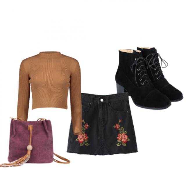 #autumn #black #skirt #boots #loveselfie #bag #zaful #turtleneck